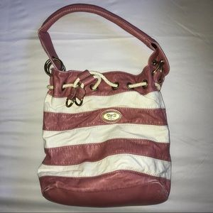 Pink and white distressed purse